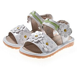 Little Blue Lamb Toddler White Flower Leather Squeaky Sandals