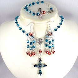 Turquiose and Copper Crystal Catholic Wedding Jewelry Set