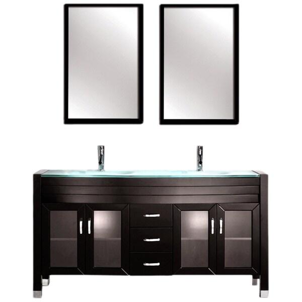 Contemporary Espresso Finish Double Sink Vanity Set