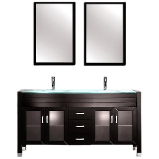 Contemporary Espresso Finish Double Sink Vanity Set