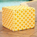 Brooklyn Yellow 22-inch Square Indoor/ Outdoor Ottoman