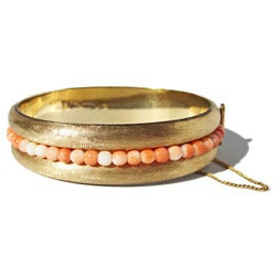 14k Yellow Gold Coral Bead c. 1950's Vintage Estate Bangle Bracelet