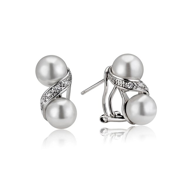 Collette Z Sterling Silver Faux Pearl and Cubic Zirconia Earrings