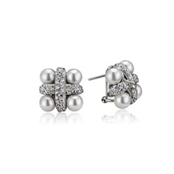 Collette Z Sterling Silver Faux Pearl and Cubic Zirconia Stud Earrings
