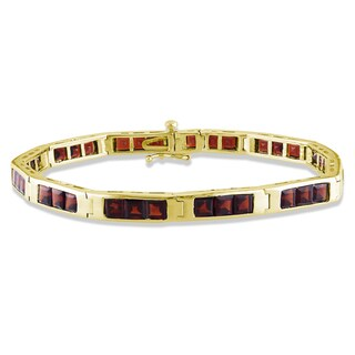 Miadora Goldplated Silver 11 3/4ct TGW Garnet 7.25-inch Bracelet with Bonus Earrings