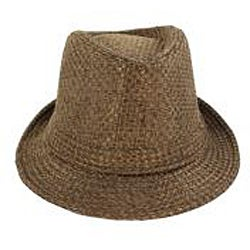 Faddism Men's Brown Woven Fedora Hat