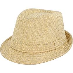 Faddism Men's Beige Woven Fedora Hat