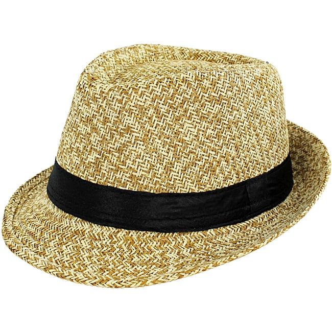 Faddism Men's Tan Woven Fedora Hat