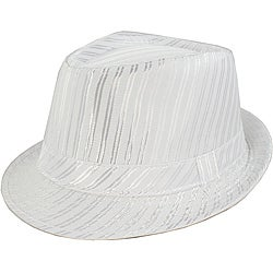 Faddism Men's White Striped Fedora Hat