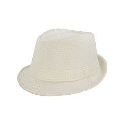 Faddism Men's White Woven Fedora Hat