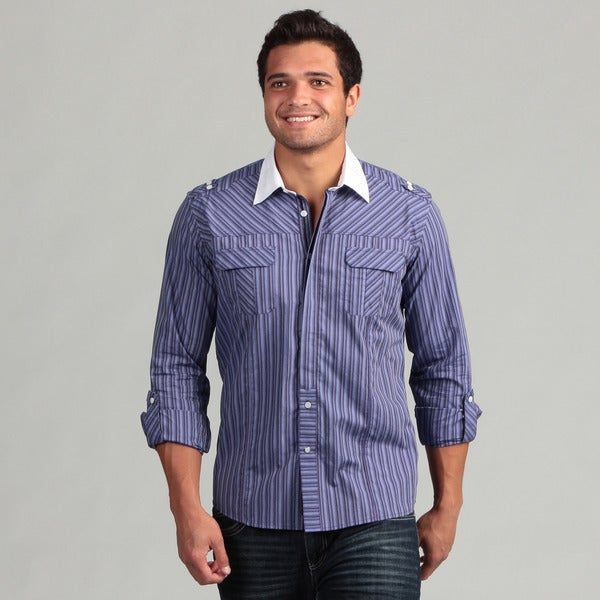 Civil Society Men's Purple Striped Woven Shirt