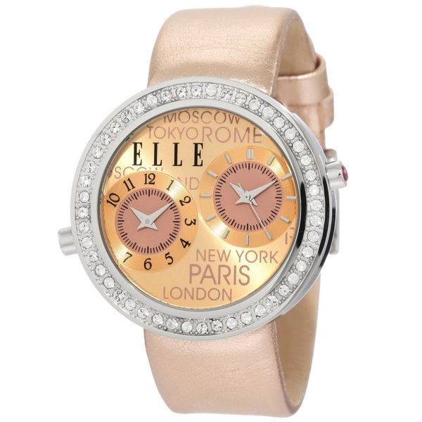 Elle Women's Dual-time Rose-gold Watch