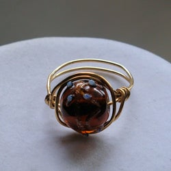 Handmade Brass-wire Earthtone-bead Wrapped Ring
