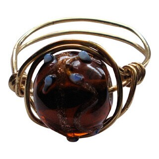 Handmade Brass-wire Earthtone-bead Wrapped Ring
