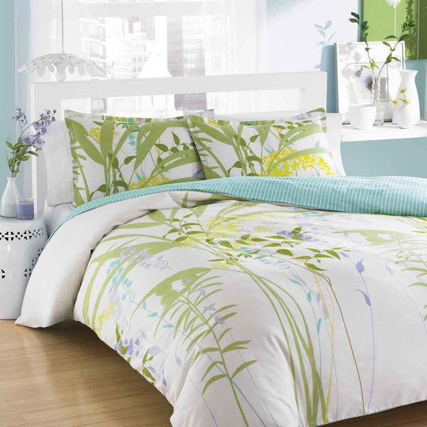 City Scene Mixed Floral 3-Piece King Size Duvet Cover Set (As Is Item)