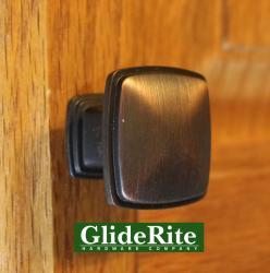GlideRite 1.25-inch Oil Brushed Bronze Square Deco Cabinet Knobs (Case of 25)