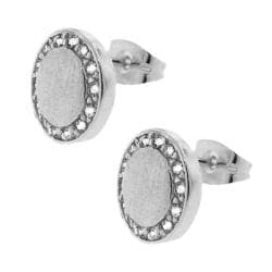 Sterling Silver CZ Matte Circle Stud Earrings