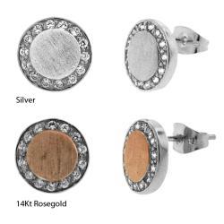 Sterling Silver CZ Matte Circle Stud Earrings