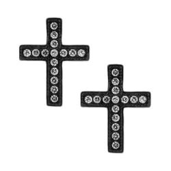 Black-plated Cubic Zirconia Cross Stud Earrings