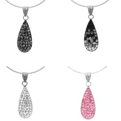 Sterling Silver Crystal Tear-drop Necklace