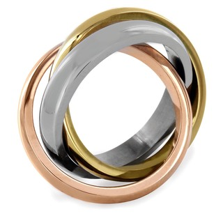 West Coast Jewelry Women's Stainless Steel Polished Tri-tone Interlocked High-polish Ring