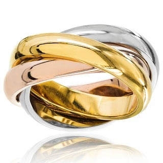 Stainless Steel Polished Tri-color Interlocked Wedding Band Ring
