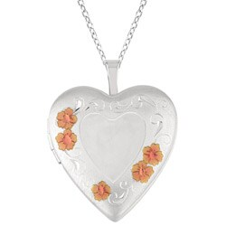 Sterling Silver Flower Design Heart Locket Necklace