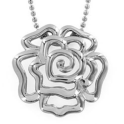 High-polish Stainless-steel Hollow Rose Pendant with 24-inch Chain