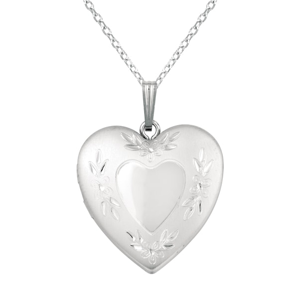 Sterling Silver Flower Design Heart Locket Necklace