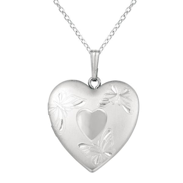 Sterling Silver Butterflies Heart Locket Necklace