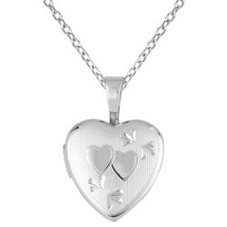 Sterling Silver Double Heart Design Locket Necklace