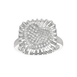 Sterling Silver Clear Cubic Zirconia Heart in Square Fashion Ring