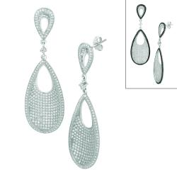 Sterling Silver Cubic Zirconia Teardrop-shaped Earrings
