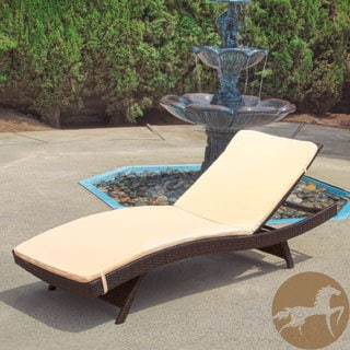 Christopher Knight Home Outdoor Brown Wicker Adjustable Chaise Lounge with Cushion