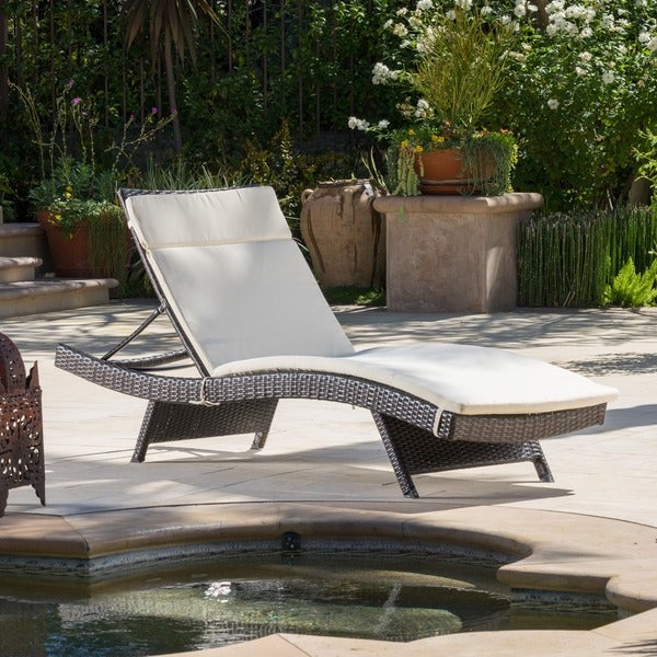 Christopher Knight Home Toscana Outdoor Brown Wicker Adjustable Chaise Lounge with Cushion