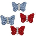 Sterling Silver Crystal Two Tone Butterfly Stud Earrings