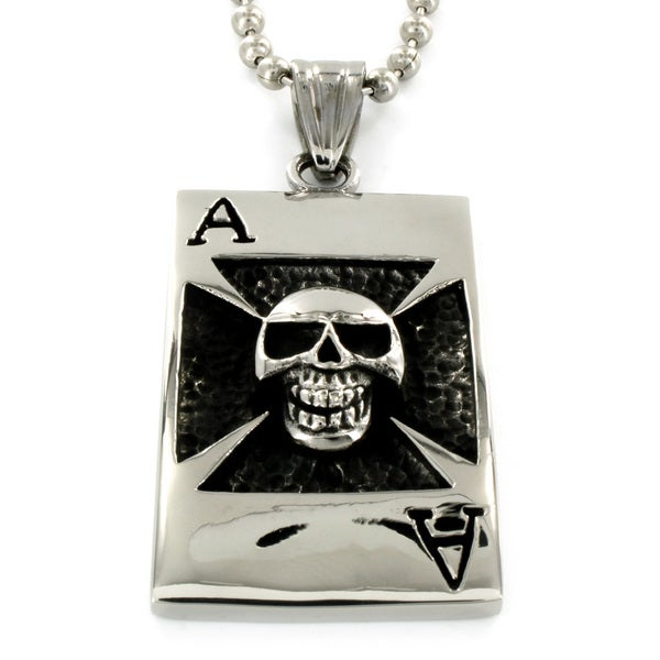 Stainless Steel Skull and Ace Necklace