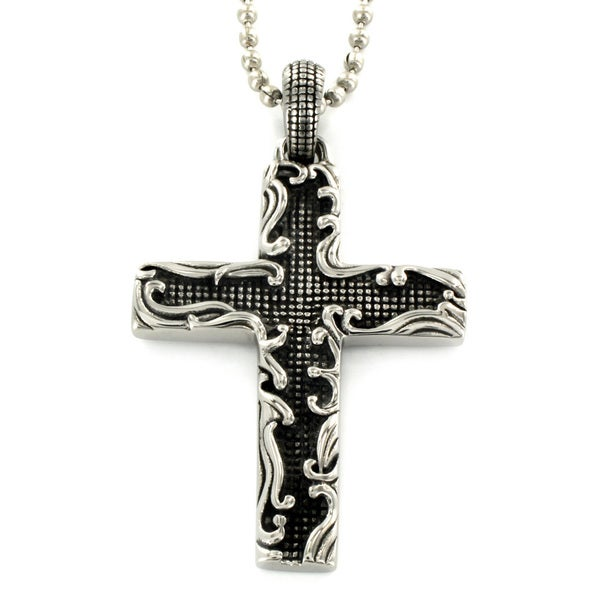 Stainless Steel Floral Framed Cross Necklace