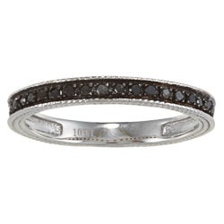 10k White Gold 1/6ct TDW Engraved Black Diamond Band (G-H, I1-I2)