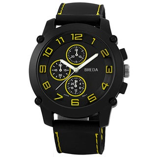 Breda Men's 'Colton' Yellow Accented Silicone Watch