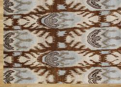 Alliyah Handmade IKAT Brown Sugar New Zealand Blend Wool/Viscose Silk Pile Rug (5' x 8')