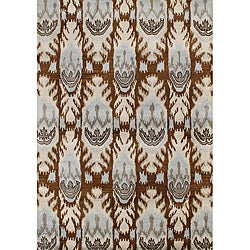 Hand Made Sabrina IKAT Brown Sugar New Zealand Wool/Viscose Silk Pile Rug 5x8