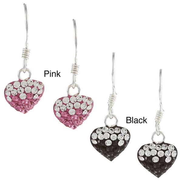 Sterling Silver Crystal Two Tone Heart Dangle Earrings