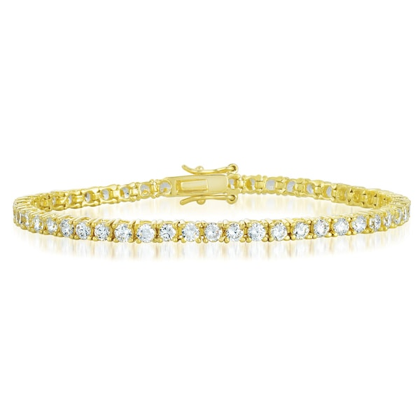 Collette Z Plated Sterling Silver Cubic Zirconia Tennis Bracelet - Multiple Colors