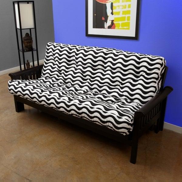 Black/ White Stripe Full-Size 12-inch Futon Mattress