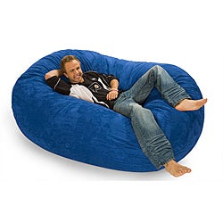 Oval Royal Blue Microfiber and Foam Bean Bag, 6-foot