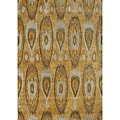 Alliyah Handmade IKAT Tobacco Brown New Zealand Blend Wool/Viscose Silk Pile Rug (8' x 10')
