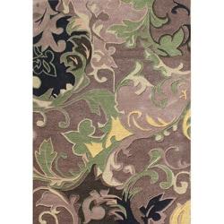 Alliyah Handmade Beige New Zealand Blend Wool/Viscose Silk Rug (5' x 8')