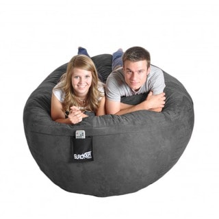 Six-foot Oval Charcoal Grey Microfiber and Memory Foam Bean Bag