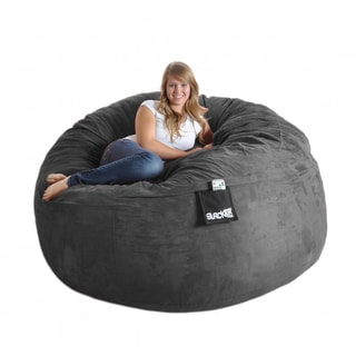 Round 6 ft. Charcoal Grey Microsuede and Foam Bean Bag